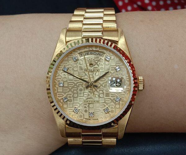 流當手錶拍賣 原裝 勞力士 18238 18K金 十鑽 紀念面 自動 男錶 盒單齊 9成9新 喜歡價可議